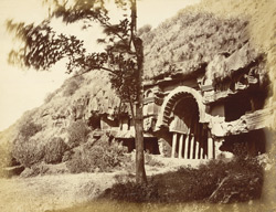 Exterior view of large Buddhist Chaitya Hall (Cave XII) and adjoining group, Bhaja Caves, Pune District